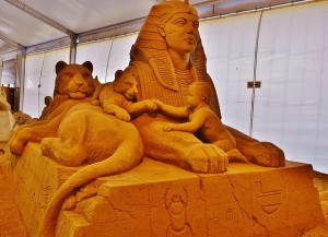 sand sculpture of a sphinx
