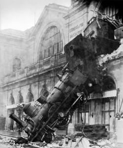 steam engine crashed out of a building
